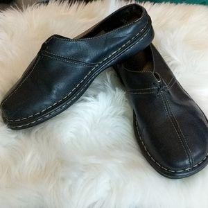DOCKERS Black Leather Daffodil Slide Mules 9M